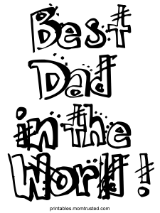 Best Dad in the World Free Coloring Sheet Best Dad Ever 225x300