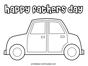 Happy Fathers Day Car Coloring Page 300x225