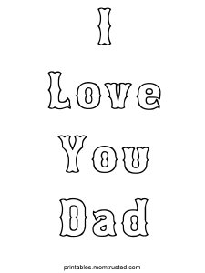 I Love You Dad Coloring Sheet I love you dad 225x300