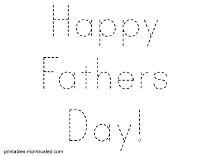 Happy Fathers Day Traceable Words Sheet Trace happyfathersday 300x225