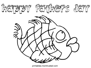 Happy Fathers Day Fish Coloring Page happy fathers day fish 300x225