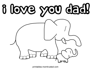 I Love You Dad Elephants Coloring Page iloveyoudadelephant 300x225