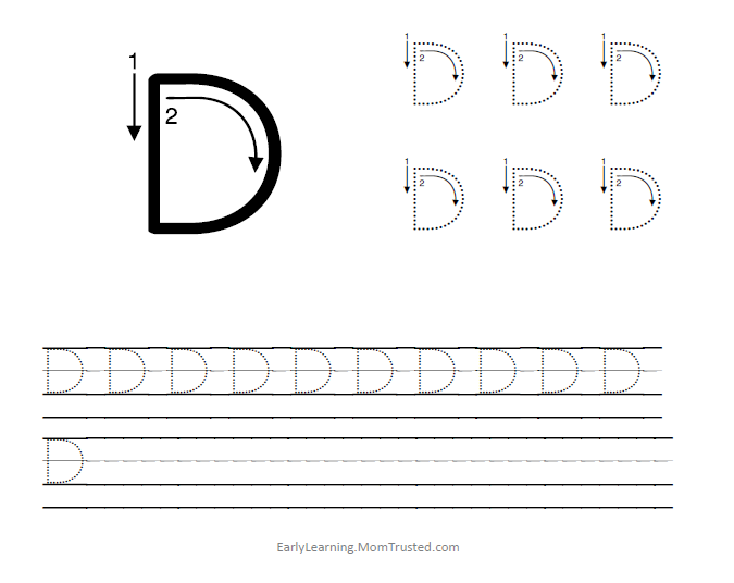 Learning How to Write the Capital Letter D - Preschool ...