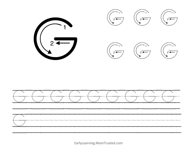 Learning How to Write the Capital Letter G Preschool Activities – Letter G Worksheets for Preschool
