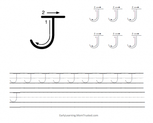 Learning How to Write the Capital Letter J MomTrusted Capital J 300x241