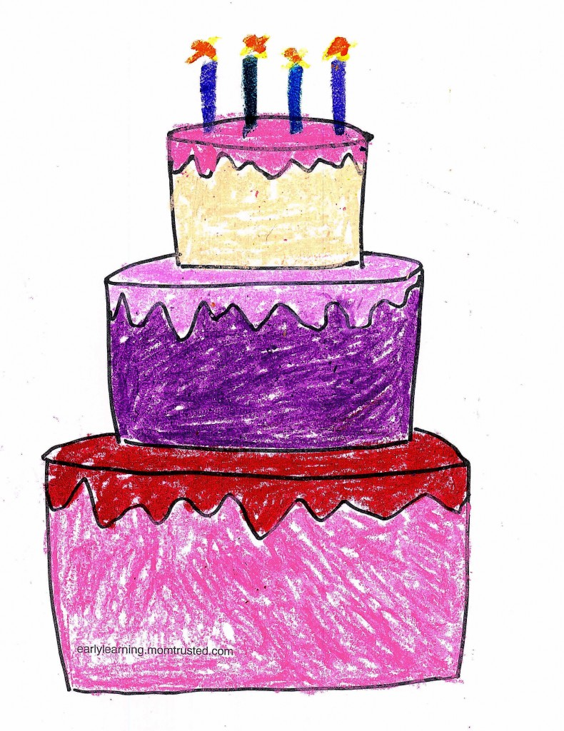 Birthday Coloring Page birthday cake printable colored 790x1024