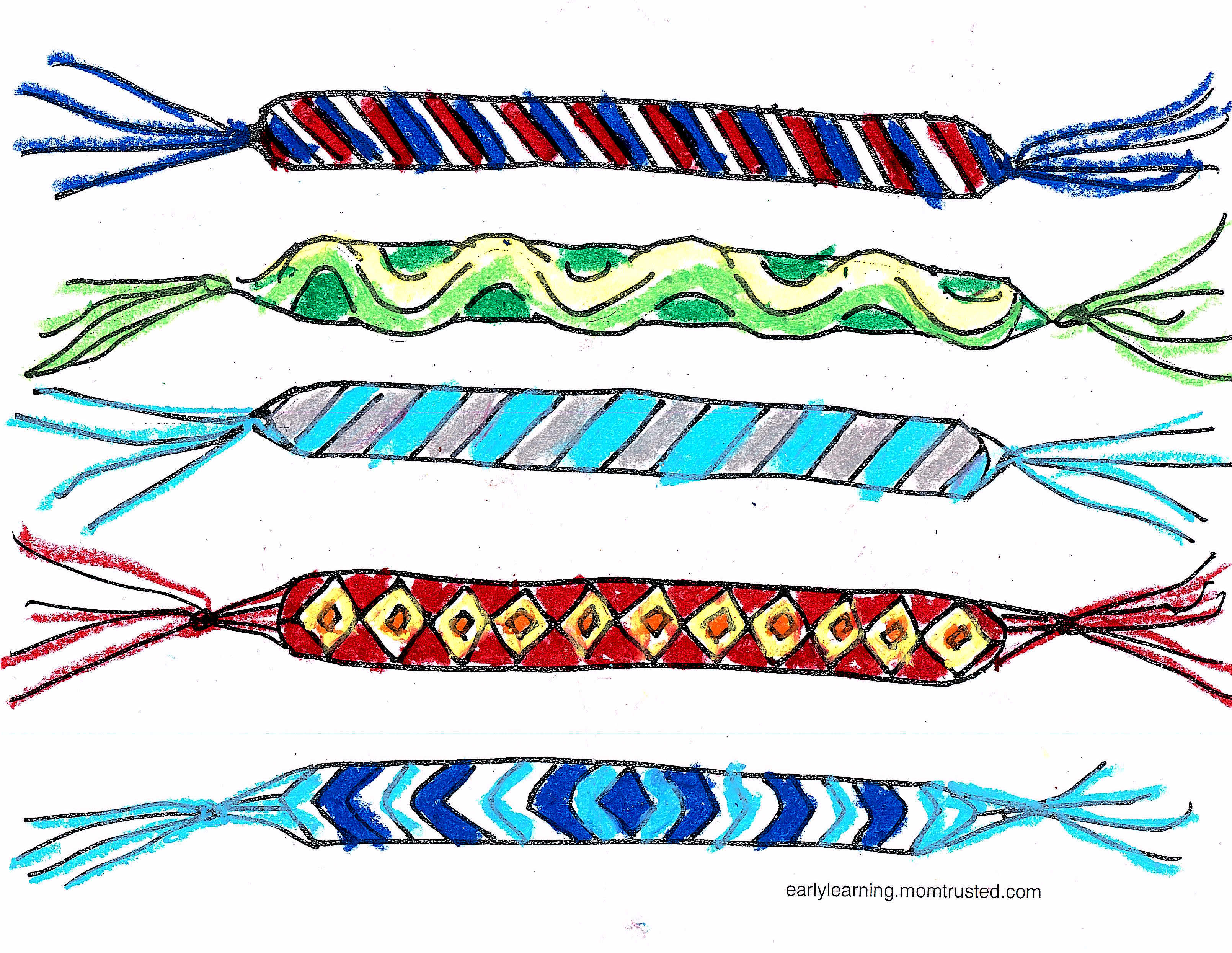 friendship bracelet printable colored