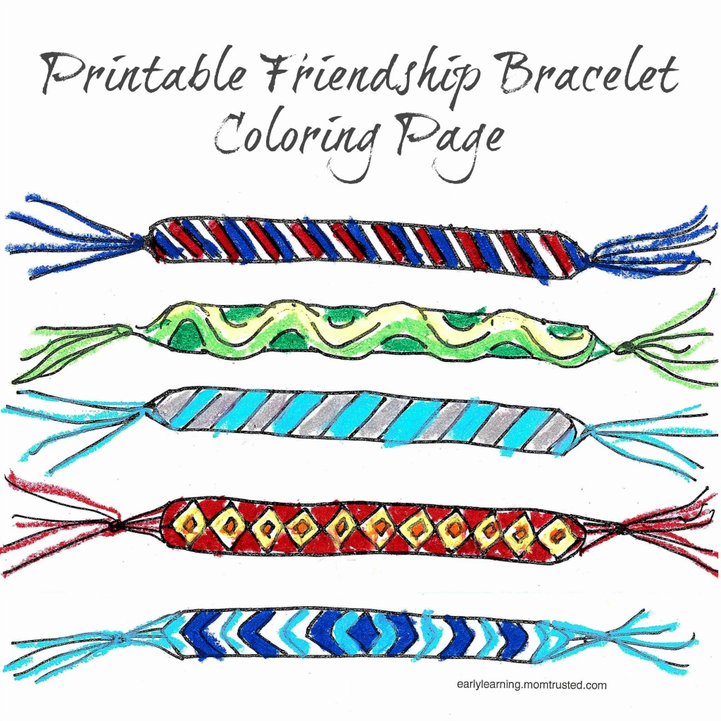 Friendship Bracelet Printable Coloring Page friendship bracelet printable colored w space title 1024x1024