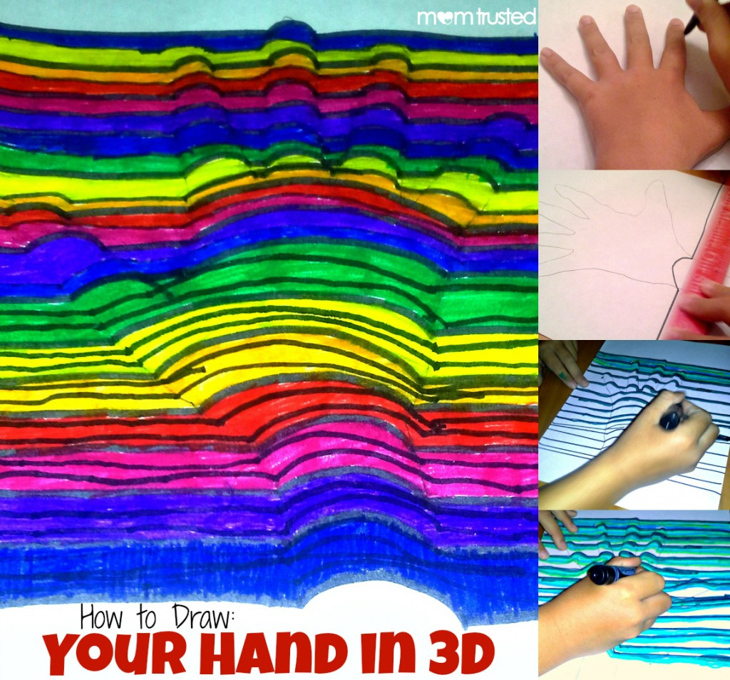 How to Draw Your Hand in 3D with Simple Optical Illusions 3d hand main image wm 1024x954