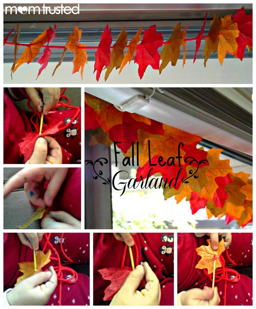 Fall Decorations: How to make an autumn leaf garland PicMonkey Collage16 849x1024