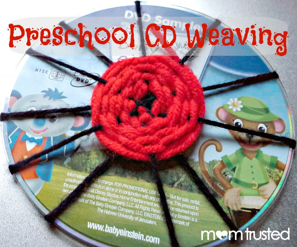 Preschool Weaving Activity: Using an old DVD or CD to improve fine motor skills 20121016