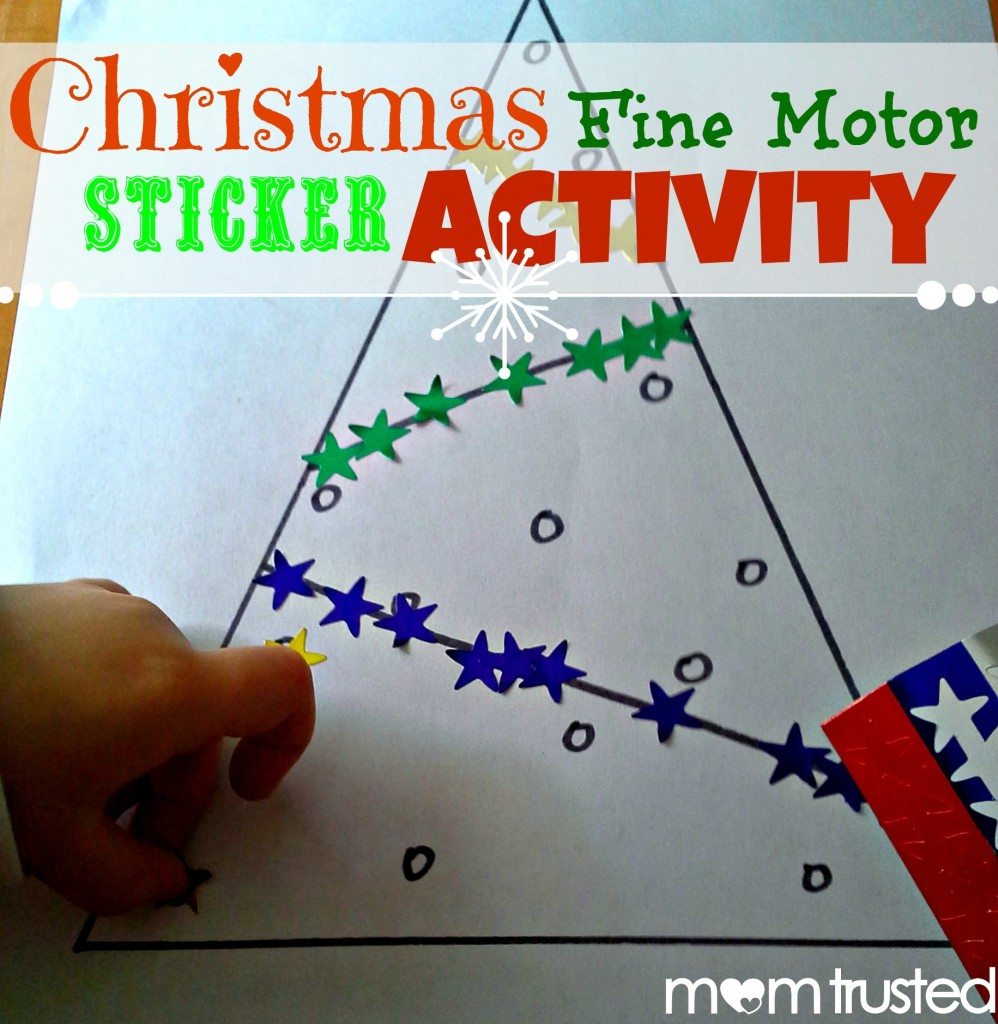 christmas fine motor sticker activity preschool activities and printables. Black Bedroom Furniture Sets. Home Design Ideas