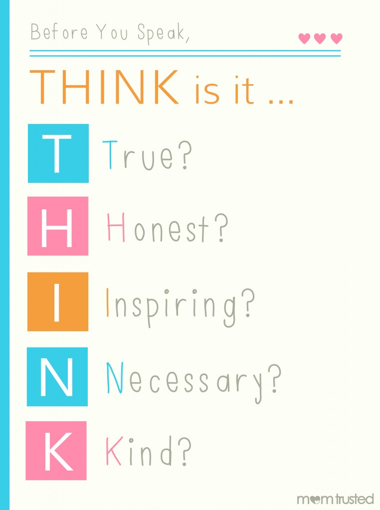 Think Before You Speak Printable think 762x1024