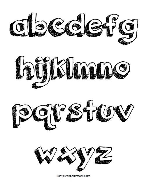Pop Up Letters & Alphabet Coloring Pages   Uppercase and Lowercase Download A Z lower Preview e1362226327168