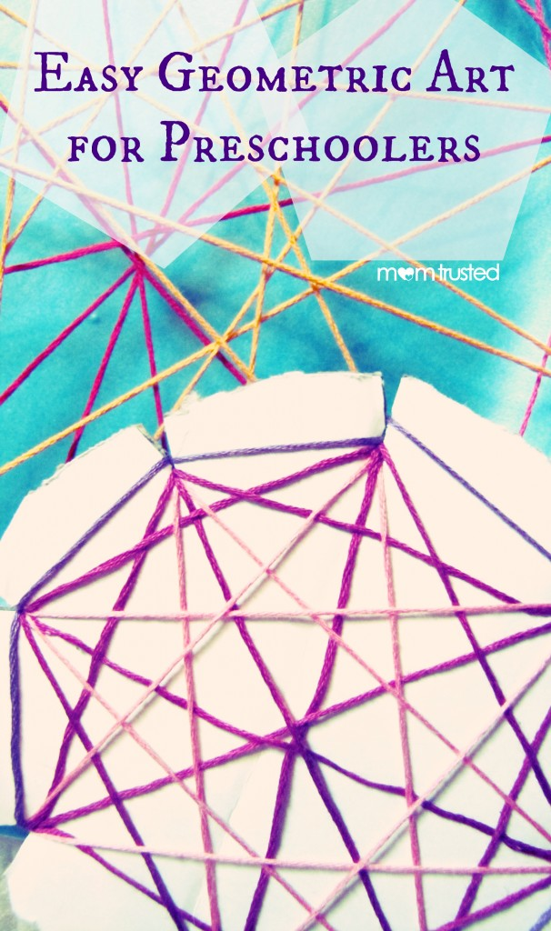 Easy Geometric String Art for Preschoolers easy geometric art momtrusted 606x1024
