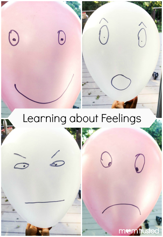 Learning About Feelings Balloon Activity feeling balloons collage with text