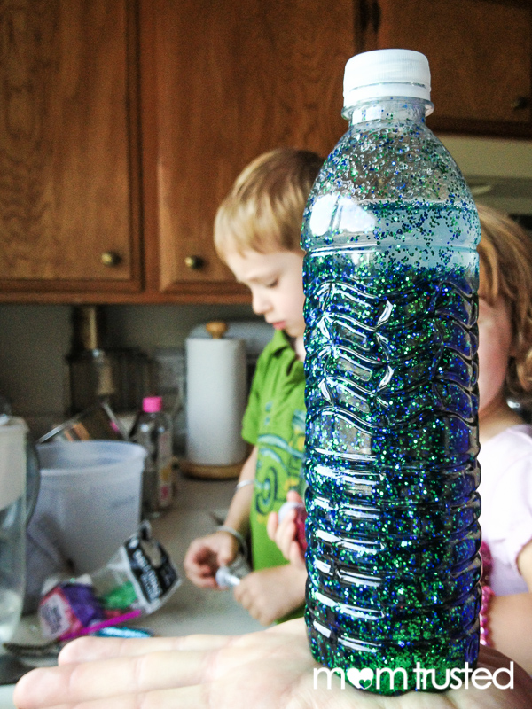 Finished glitter time-out timer bottle