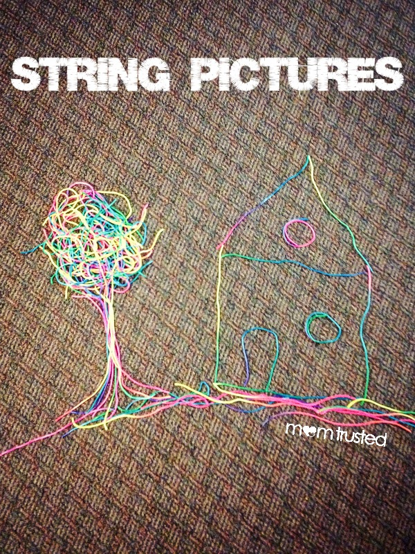 Rainy Day String Pictures: A Fine Motor Activity String Pictures by MomTrusted com