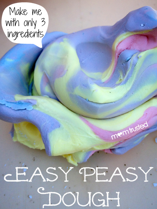 Easy Soft Play Dough Recipe 3 ingredient easy peasy dough by Mom Trusted
