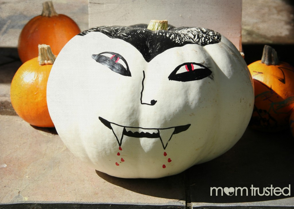 Paint Pen Pumpkin Decorating vampire pumpkin idea w watermark 1024x729