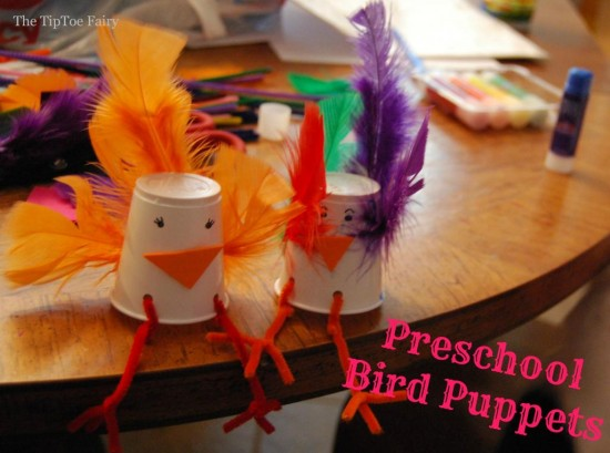 preschool feather craft bird puppets